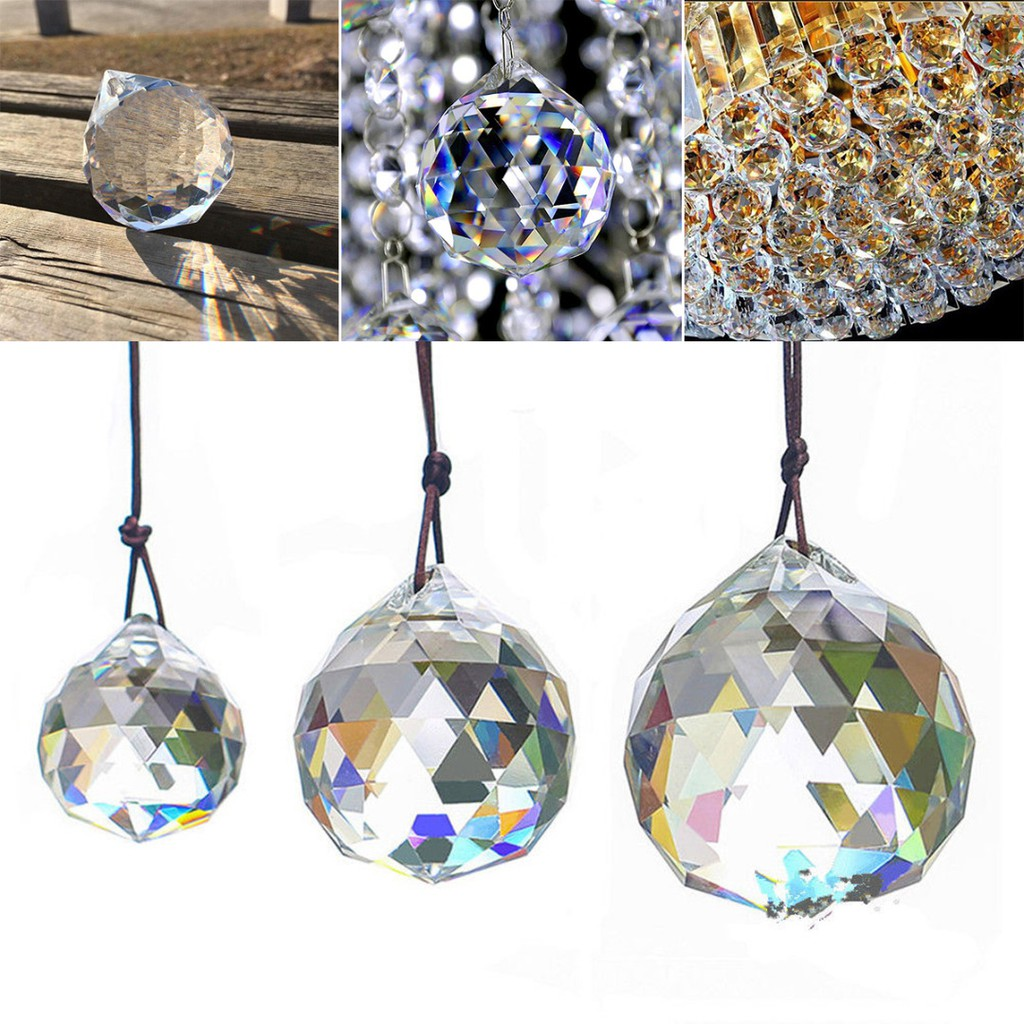 5pcs Feng Shui Hanging Crystal Ball Sphere Prism Faceted Sun Catcher Lamp 20mm