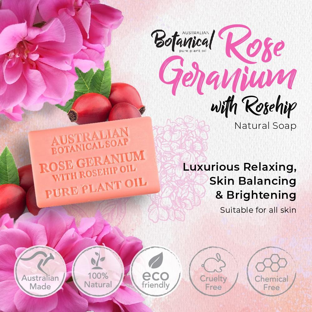 Rose Geranium with Rosehip 200g, For Skin Brightening, Moisturizing Australian Botanical Natural Soap