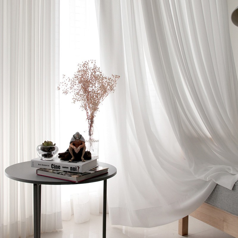 Solid Sheer Chiffon Voile Window Curtain for Balcony 1 Panel White Slot Top