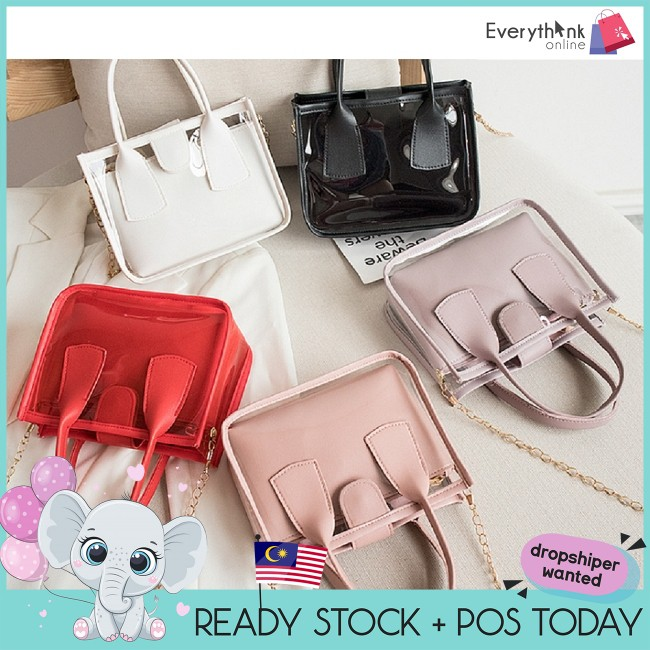EVON PREMIUM SB036 FASHION TRANSPARENT PVC SLING BAG FOR WOMEN  SHOULDER BAG FEMALE SMALL LEATHER HANDBAGS CROSSBODY