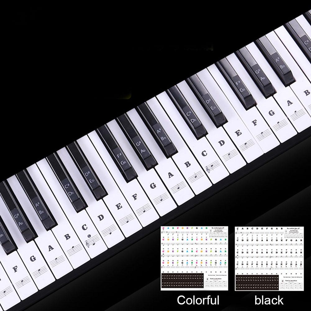 Note Biginners Stave Piano Keyboard Sticker Label 54/61 Keys Music Decal  PVC Removable
