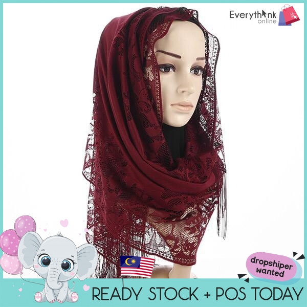 NEW  EVON PREMIUM MSL040 TUDUNG SHAWL GOOD QUALITY CHIFFON LACE DESIGN