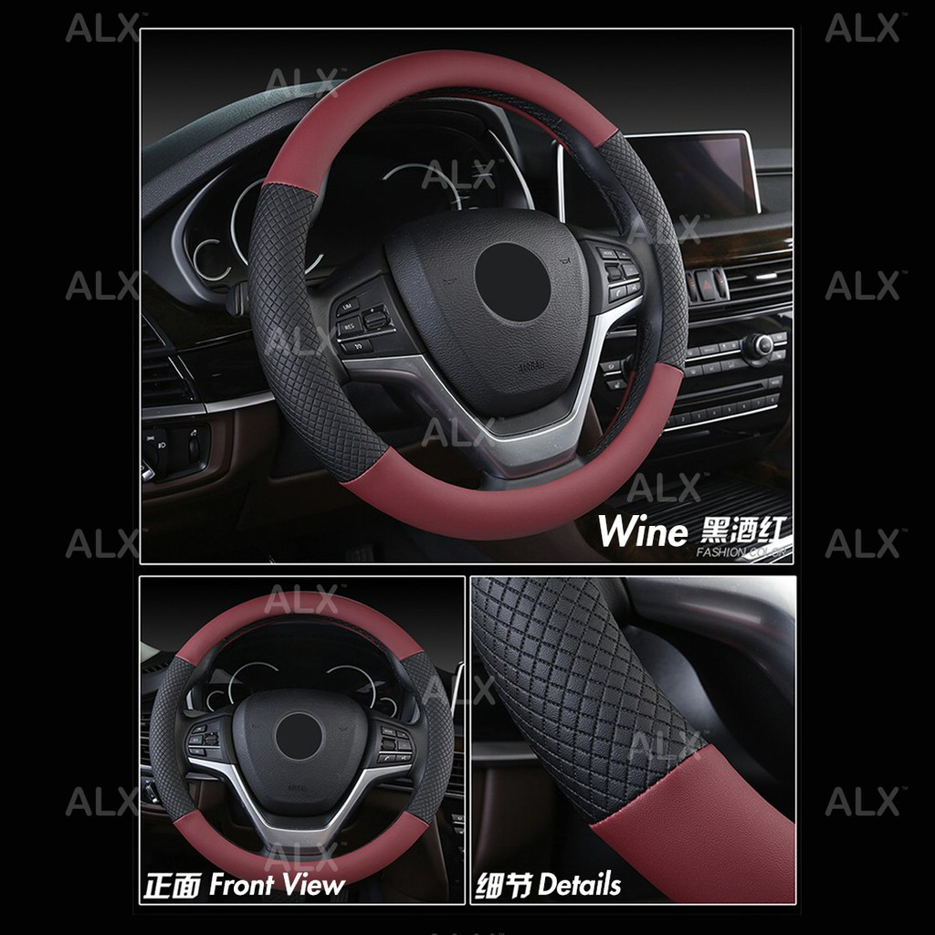 Non-Slip Soft Odorless Environmentally Friendly Breathable Luxurious,01 38CM Leather Steering Wheel Cover Unisex