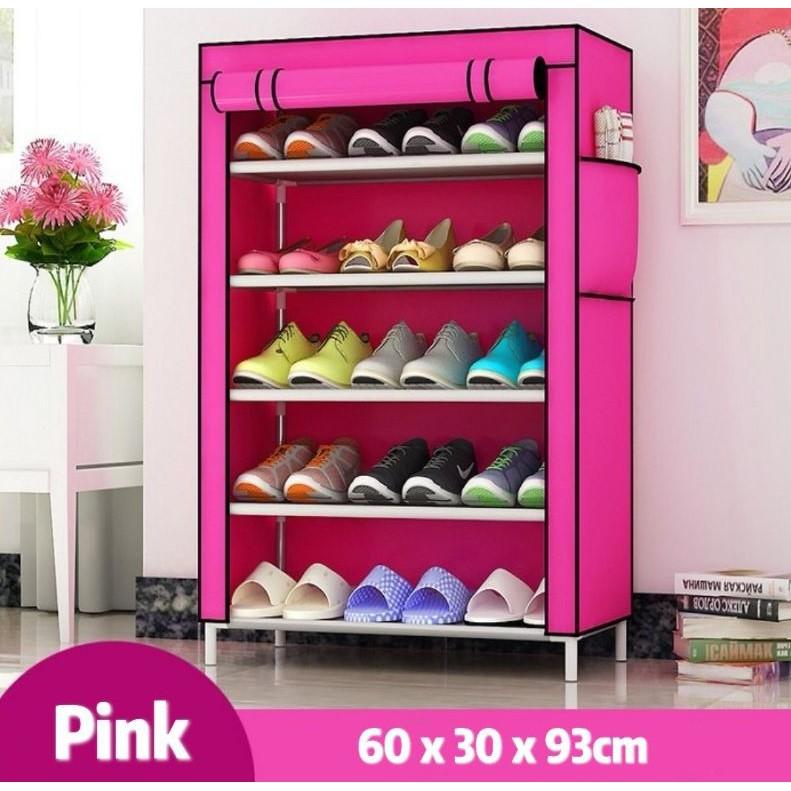[ READY STOCK ]  Steel Storage Shoe Rack Fabric Cabinet Organizer Kasut Simpanan Furniture Jualan Murah Perabut Kitchen