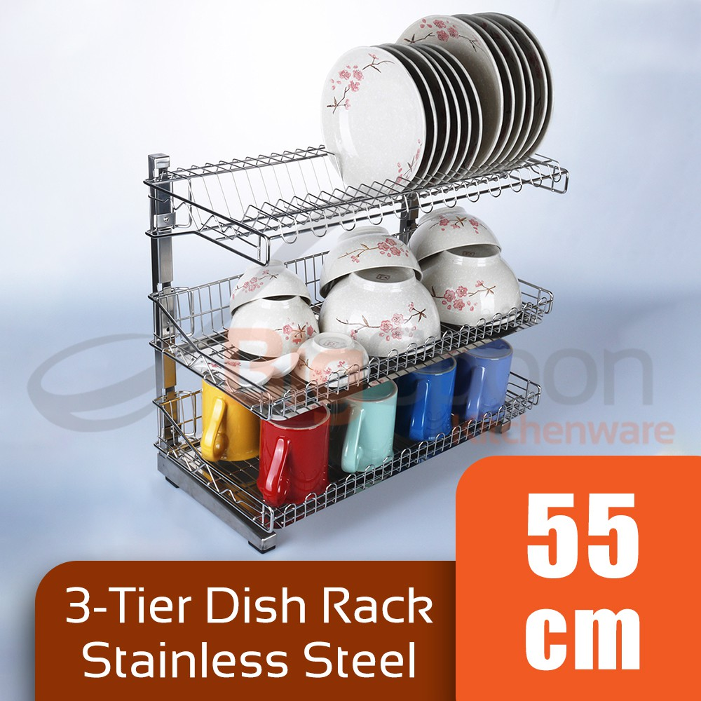 Ready Stock S Steel 3 Layer Dish Rack Kitchen Storage Organizer 2