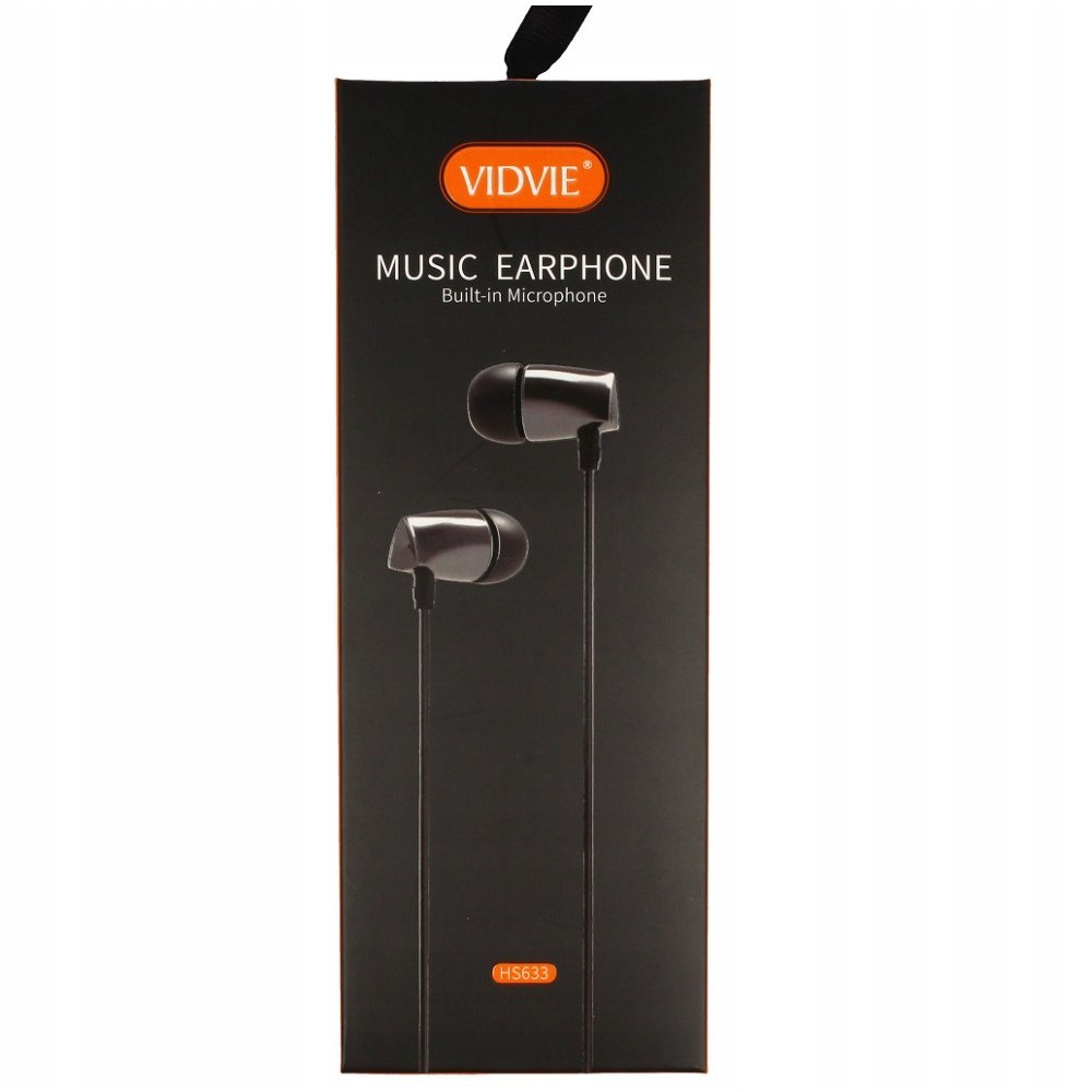 VIDVIE HS633 MUSIC EARPHONE WITH BUILT-IN MICROPHONE EARSET 3.5MM AUDIO JACK CALL ANSWERING 120CM CLEAR SOUND QUALITY