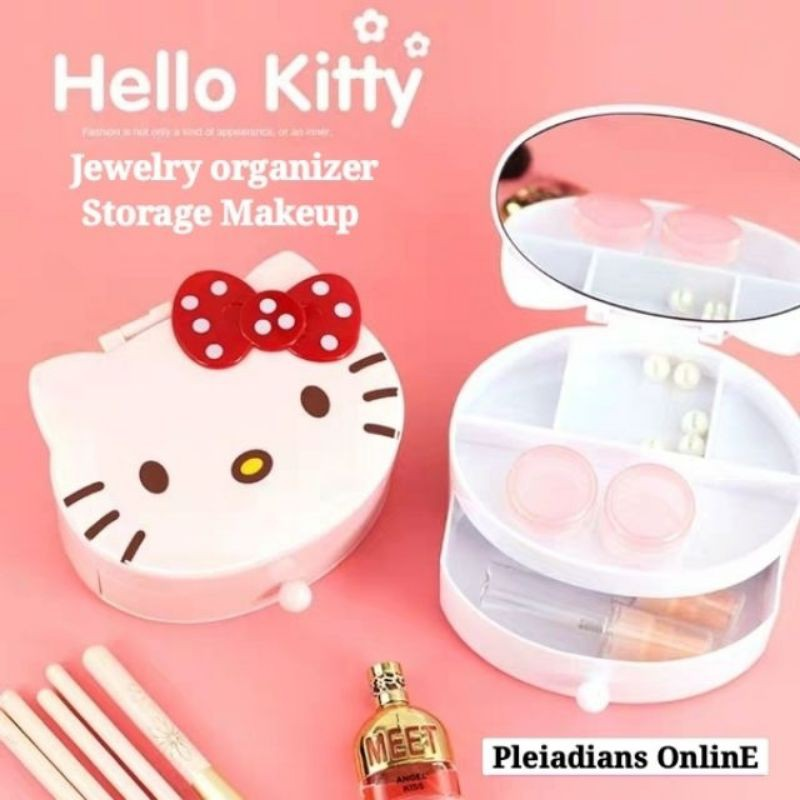 [ READY STOCK ]  High Quality Multifunction Jewelry Box Heart Shape Case Candy Makeup Storage Mirror Cermin Jualan Murah