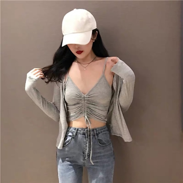 [Free Size] Summer new v-neck top ➕ outerwear two-piece suit 港味春夏新款修身抽绳V领吊带+开衫短外套上衣两件套时尚套装女装
