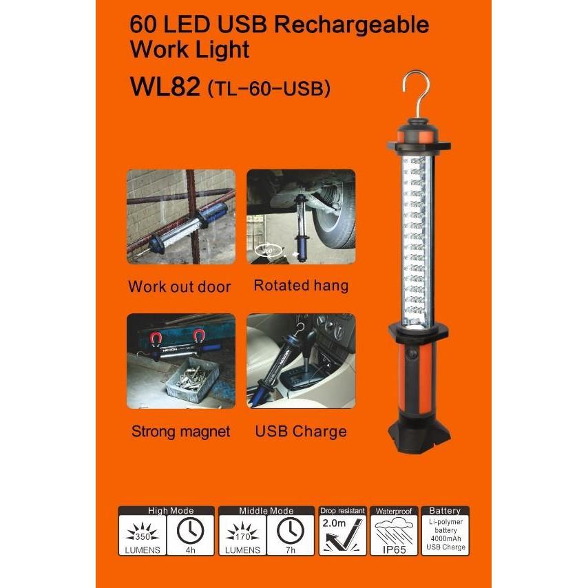 NICRON HEAVY DUTY RECHARGABLE 60 LED WORK LIGHT TORCHLIGHT FLASHLIGHT LANTERN