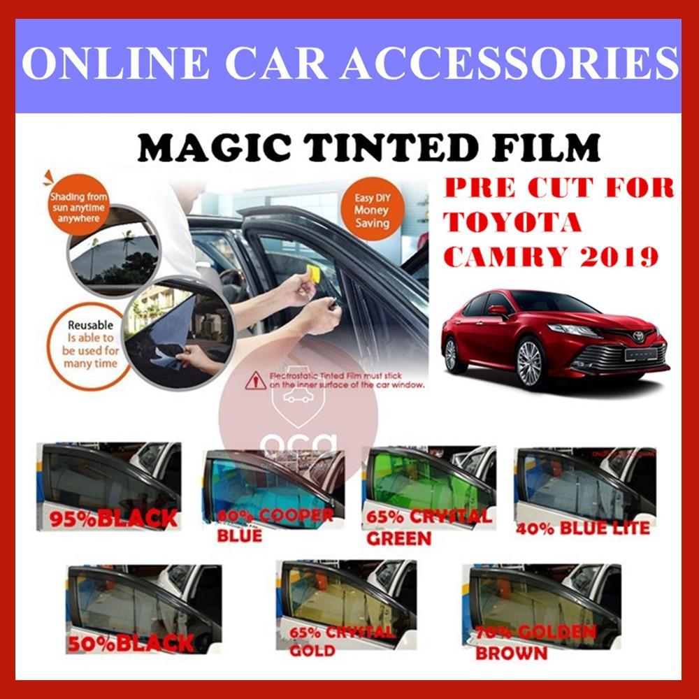 Toyota Camry 2019 - Pre-Cut Shape Magic Tinted Solar Tinted (4 Windows & 2 Triangle /4 Windows+Rear)