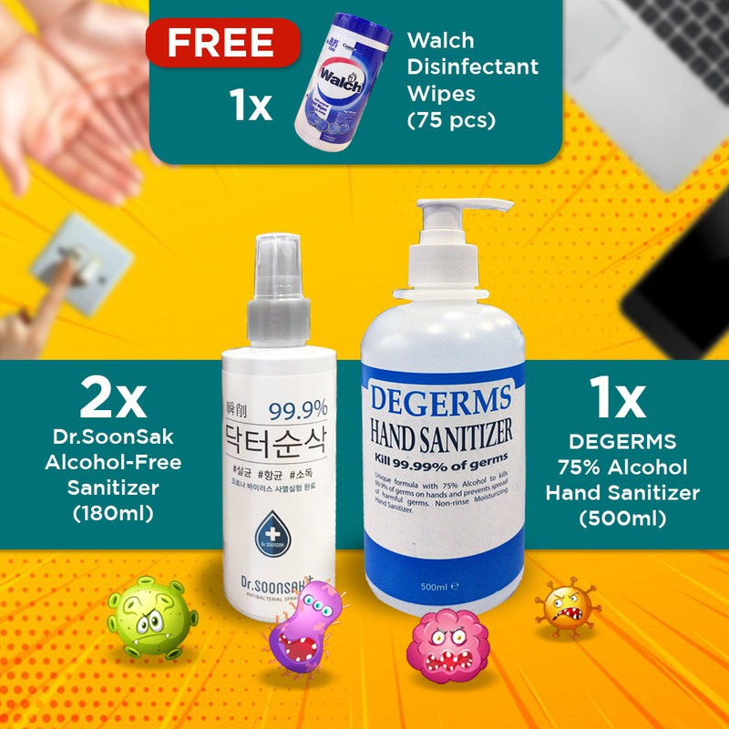 【Korean Lab Tested Disinfectant】(2)Dr.Soonsak + 500mL Degerms + Walch Wet Wipes