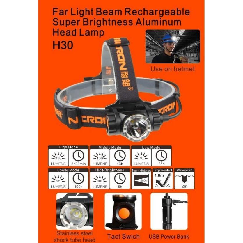 NICRON H30 HEAVY DUTY RECHARGABLE HEAD LAMP HEADLAMP TORCHLIGHT FLASHLIGHT IP65