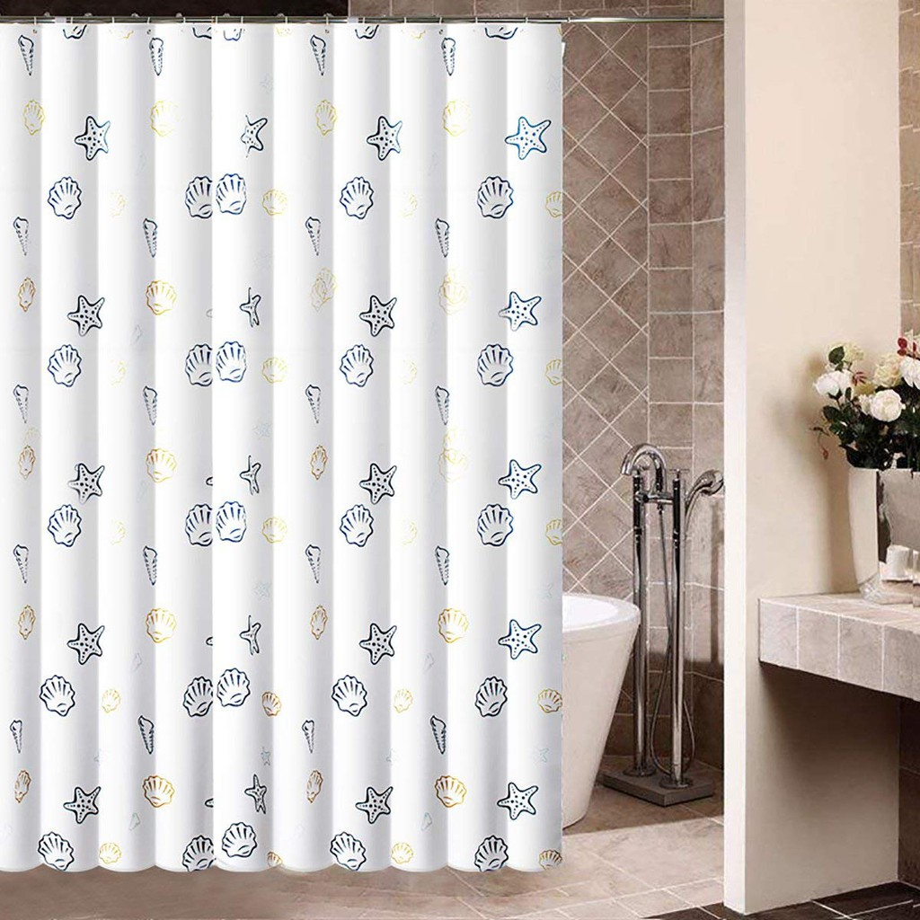 Oumi Ocean Seashells Polyester Fabric Water Repellent Shower Curtain
