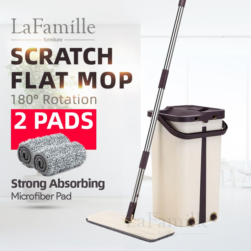 LaFamille Easy Clean Scratch Magic Flat Spin Mop - Dual Functional Mop LF-LD-SCRM003-KK