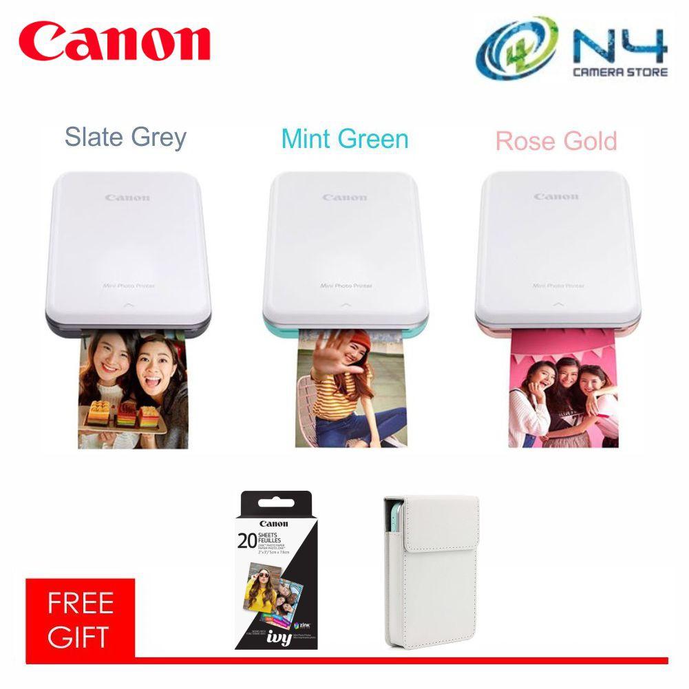 Canon Mini Photo Printer PV-123 / PV123 + Zink Paper (20 Pcs) + Case (Canon  Warranty)