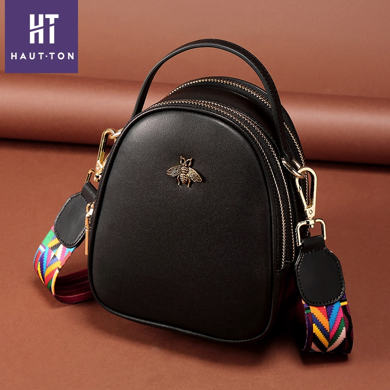 Fashionable wild single product simple temperament shoulder messenger bag leather first layer leather bucket bag women bag