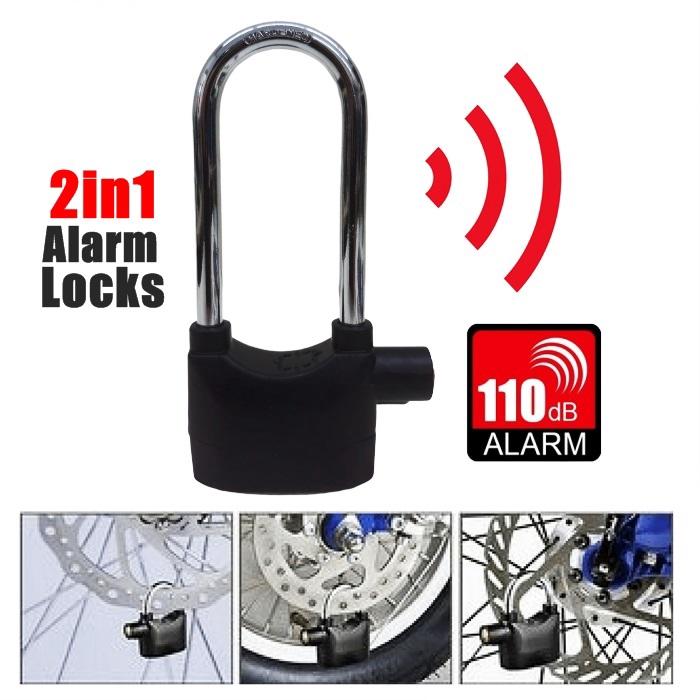 2 in 1 Waterproof Siren Alarm Padlock Alarm Lock For Motorcycle Short Bicycle
