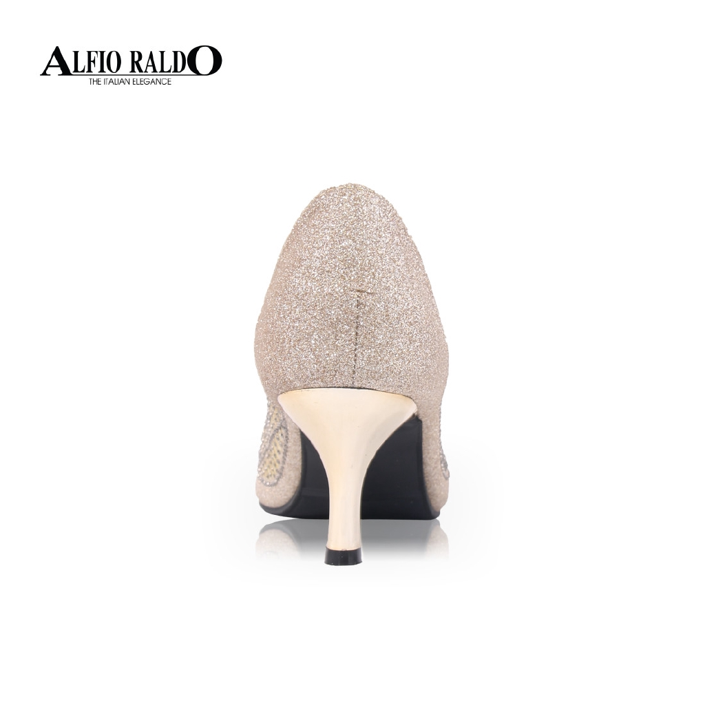Alfio Raldo Shiny Light Gold Korean Style Kitten Heel with Rhinestone Detail