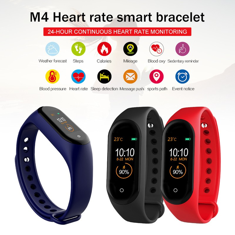 Ready Stock❤ M4 Smartwatch Smartband Tracker Heart RateWaterproof Heart Rate bluetooth Smart Band Smart Watch for xiaomi