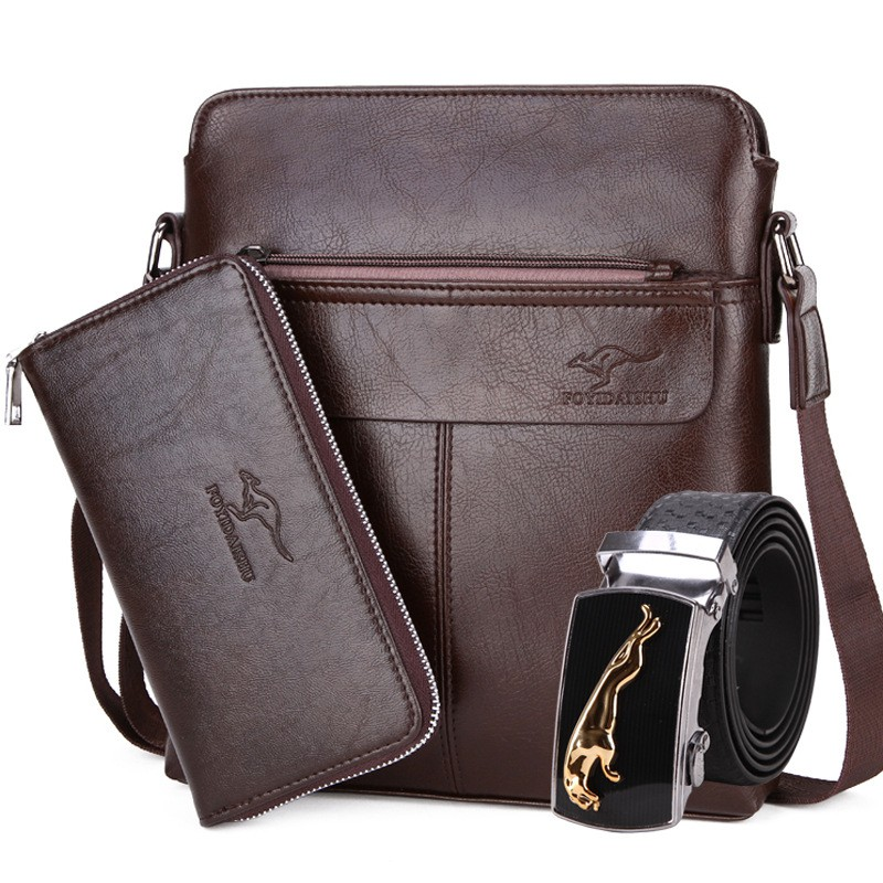 4cf75a78b2 Kangaroo Man Bag Shoulder Messenger Men s Business Leather Bag Vertical  Backpack