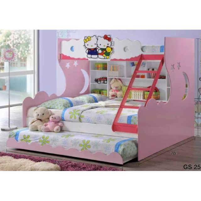 Hello Kitty Double Decker Divan Bed Kids Bedroom Set Bedding Accessories Katil Sho Malaysia