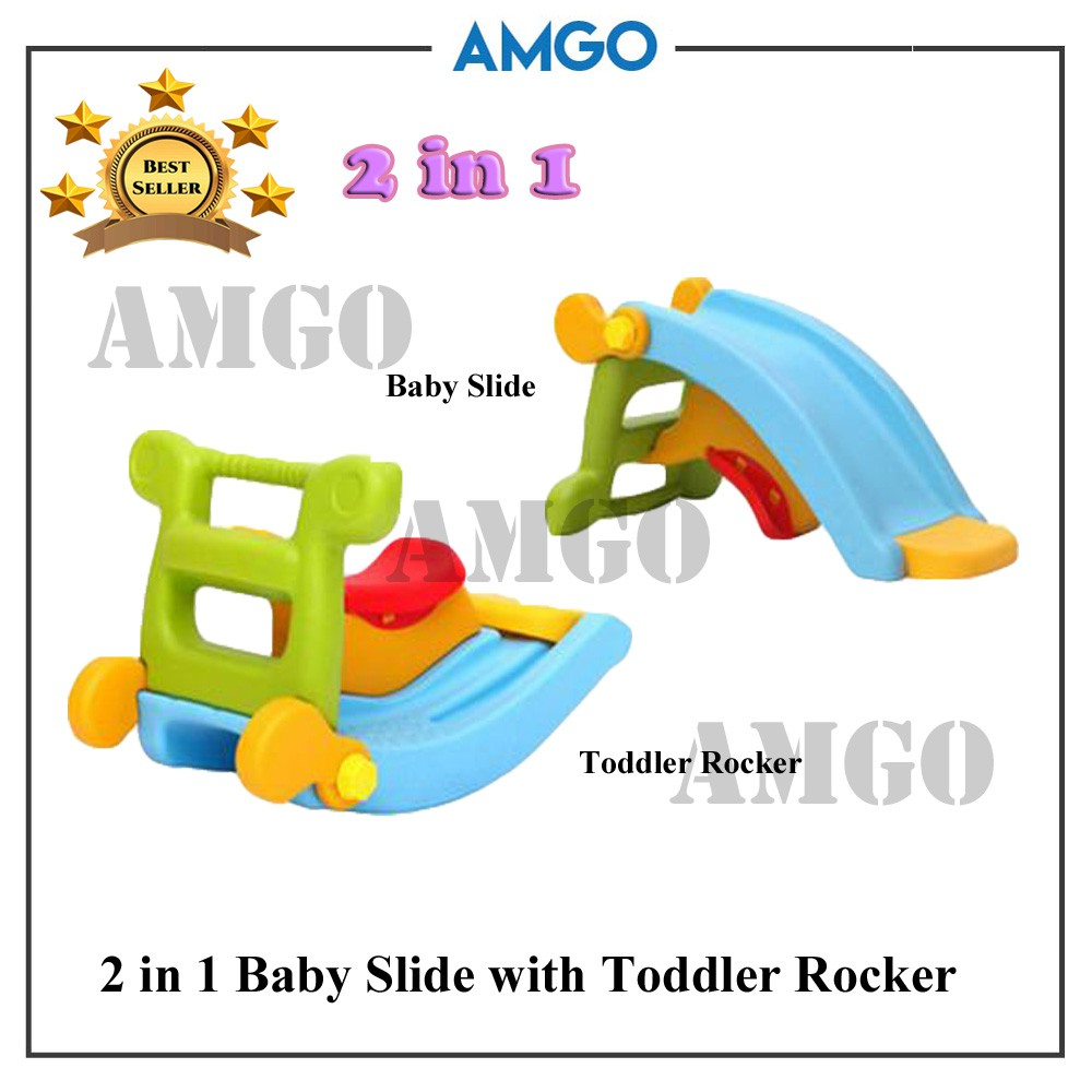 AMGO Playground Kids Slide With Rocker 2 in 1 for Kindergarten / Indoor | Shopee Malaysia