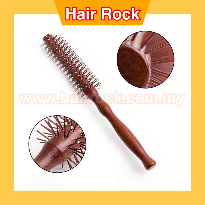 Nylon Bristle Round Styling Hair Brush With Natural Wooden Handle 25mm