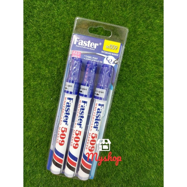 Faster M509 White Board Marker Chisel Point 3's Blister Card Packing