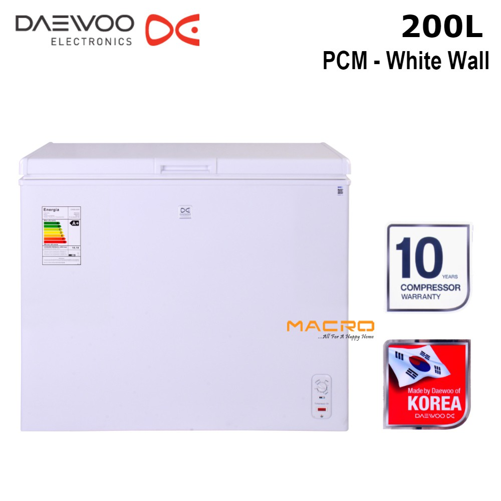 Daewoo Chest Freezer 200Litres White Safety with lock DCF-250W | Shopee  Malaysia