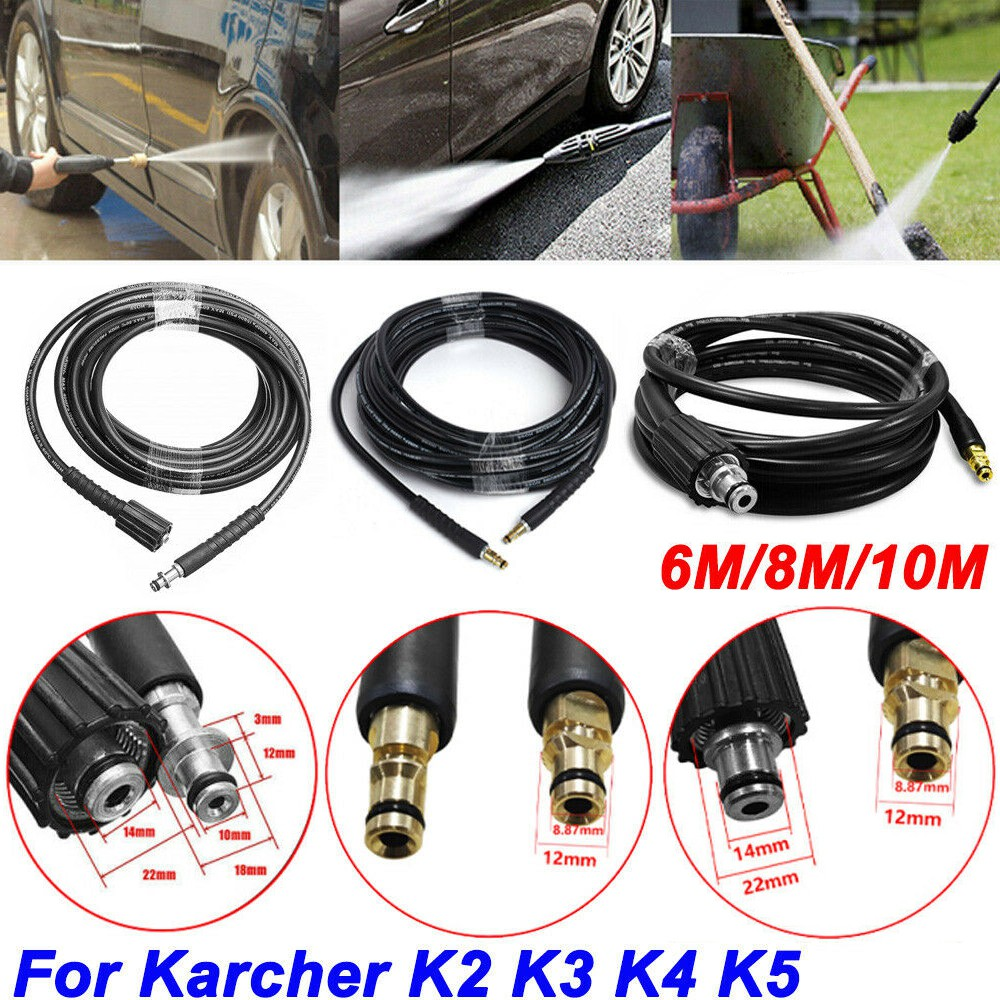 32Ft 10M High Pressure Washer Hose Water Clean Pipe M22 Jet Fit Karcher K3 K4 K5
