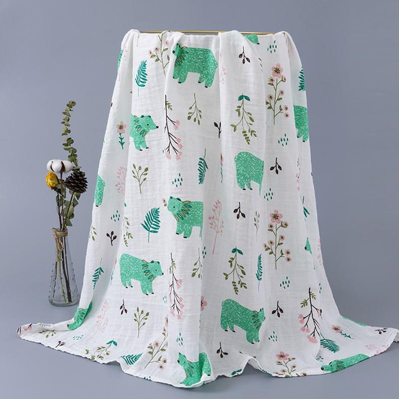 Baby Double Layer Muslin Gauze Cotton Adsorbent 110cm *120cm 婴儿双层印花纱布棉吸水款 BB0002