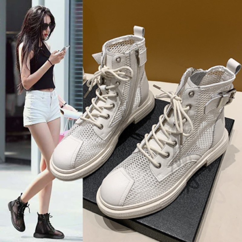 【35-40】Women's shoes Martin boots 马丁靴女网纱透气夏季薄款厚底凉靴新款百搭网靴镂空靴子潮