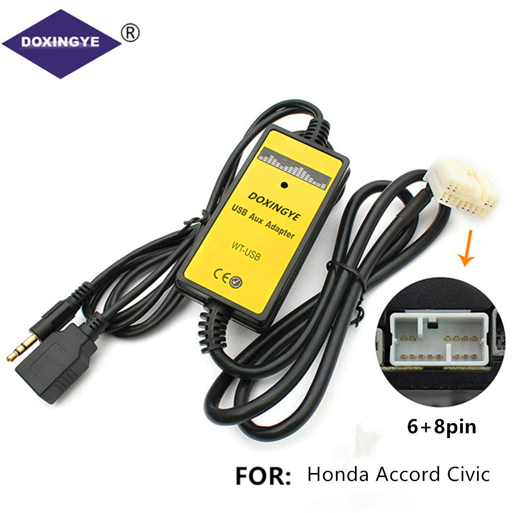 Bluetooth Car Kit,Yomikoo Car MP3 USB//AUX 3.5mm Stereo Wireless Music Receiver Wireless Hands Free Auto Bluetooth Adapter fit for Honda 2.3 Accord CRV Odyssey Pilot S2000 Acure CL MDX