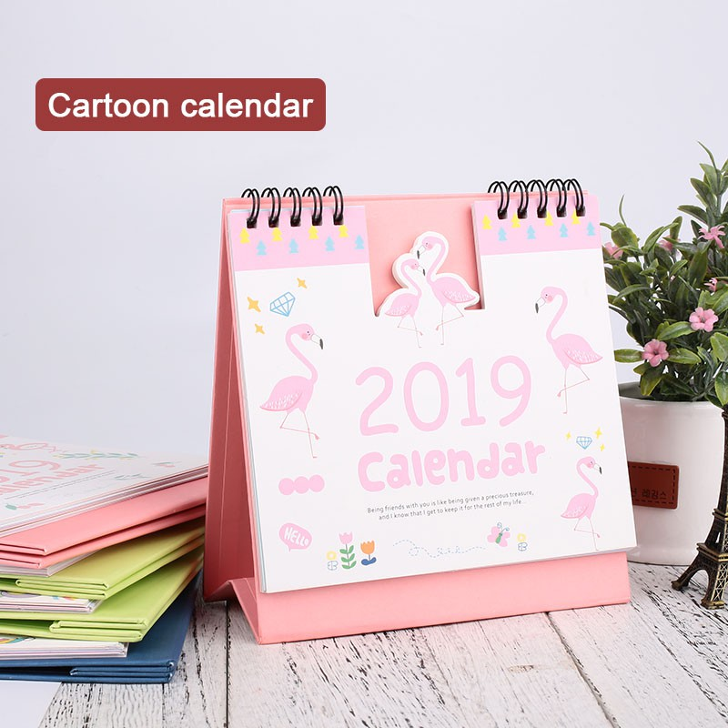 2019 Year Cute Landscape Creative Desk Standing Paper Multifunction Organizer Schedule Planner Notebook New Cartoon Calendar Office & School Supplies