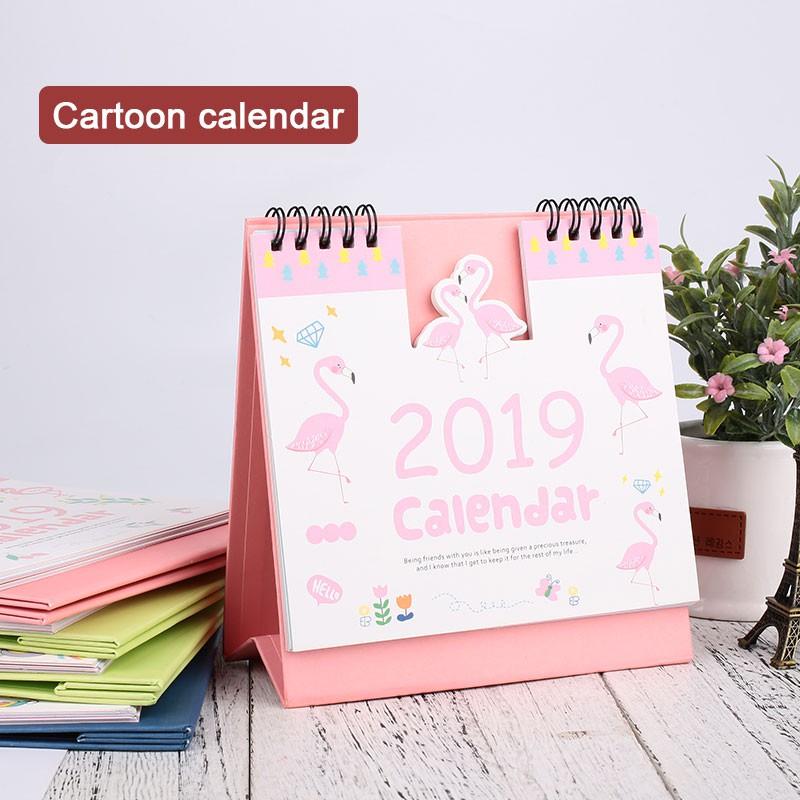 2019 Year Cute Landscape Creative Desk Standing Paper Multifunction Organizer Schedule Planner Notebook New Cartoon Calendar Office & School Supplies Calendar