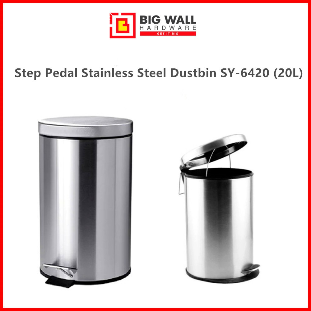 Step Pedal Stainless Steel Dustbin SY-6420 (20L) Grade SUS 401 (Tong Sampah Keluli)