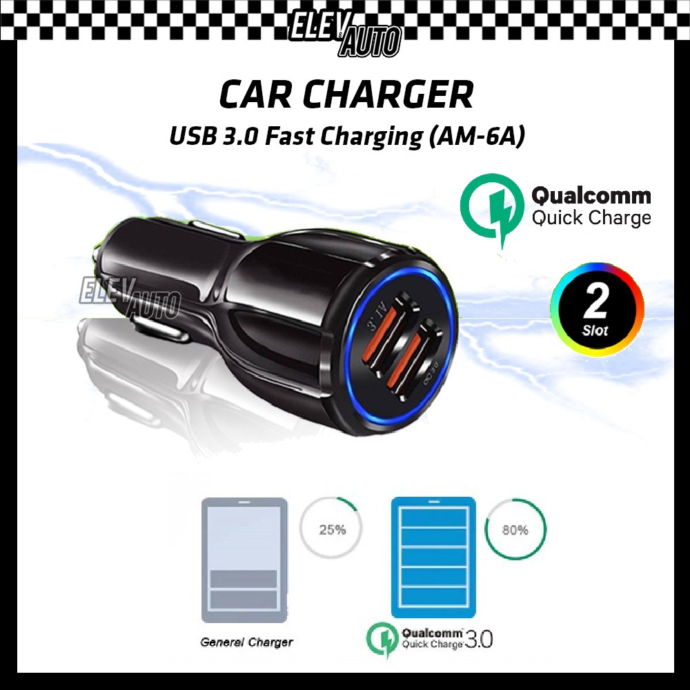 Car Charger Quick Charge Fast Charging 3.0 USB (AM-6A)