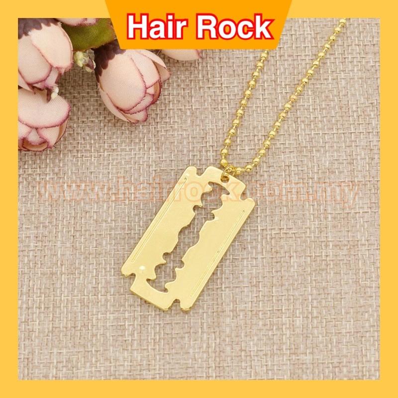 Hip Hop Trendy Gold Signature Razor Blade Necklace