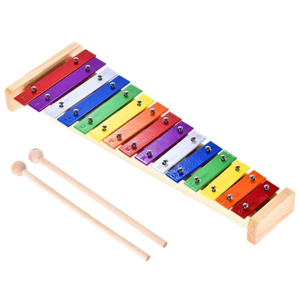 Xylophone Wooden & Aluminum Percussion Musical Instrument with 2 Mallets