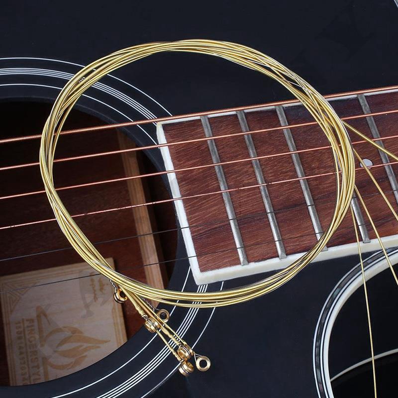 6Pcs Wooden Pop Acoustic Guitar Brass Alloy Strings Accessories Universal