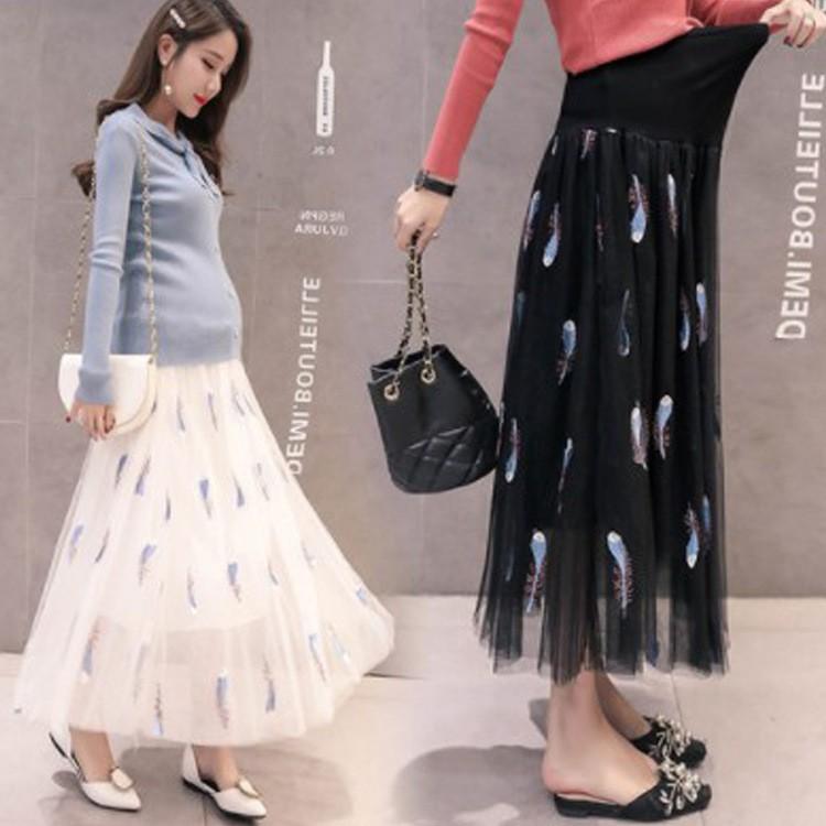 1ee579c96c439 Skirt mesh embroidered long section big swing skirt stomach lift maternity  skirt