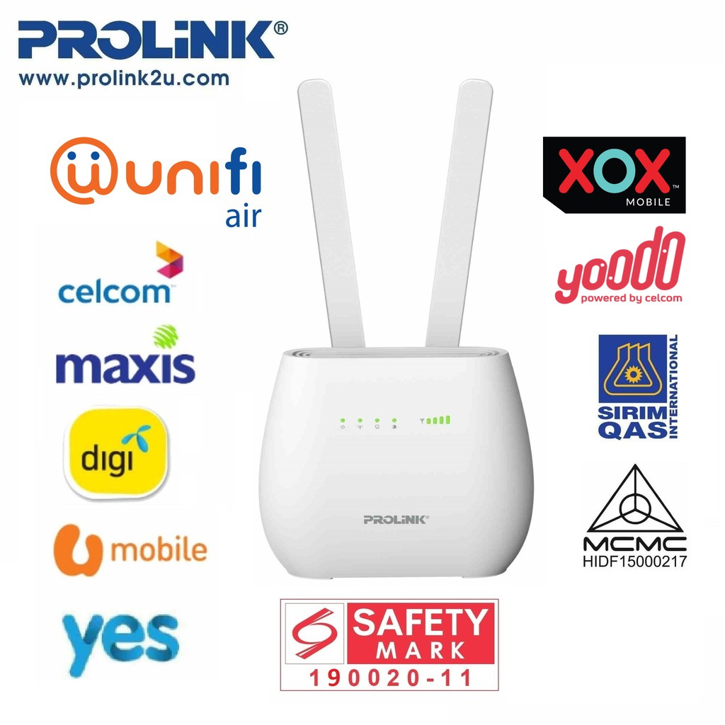 PROLiNK 4G Sim Card LTE Router with Voice Call / Network LAN Port with Sirim Approval & Safety Mark PRN3006L