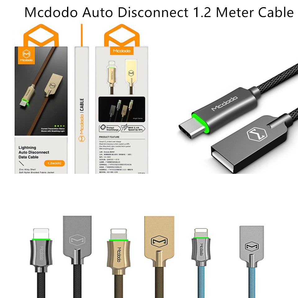 ORIGINAL MCDODO 1.2M CA - 390 Knight 2.4A Auto Disconnect Apple Lightning Cable | Shopee Malaysia