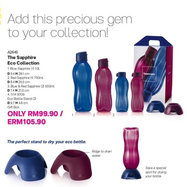 READYSTOCK Tupperware ( 4pcbtls + 2pcStands+GiftBox) The Sapphire Eco Collection Set 1000ml 750ml 500ml Eco Bottle Stand