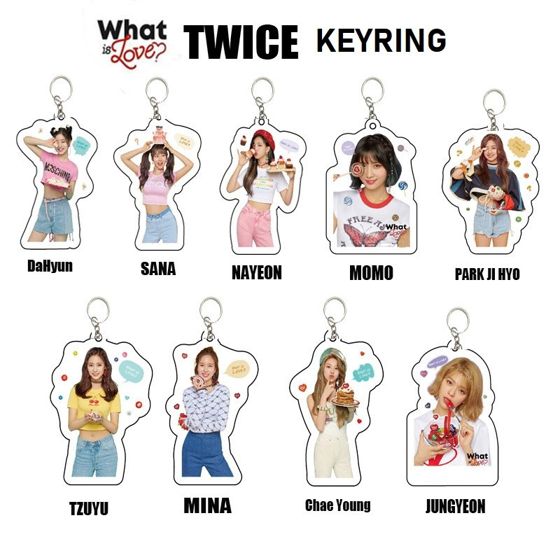 Kpop Twice Key Chain What Is Love Album Keychain Cute Mina Momo Keyring For Fans Shopee Malaysia