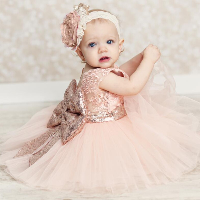 Baby Kids Flower Girls Bow Sequins Tulle Tutu Dress Princess Party Wedding Gown