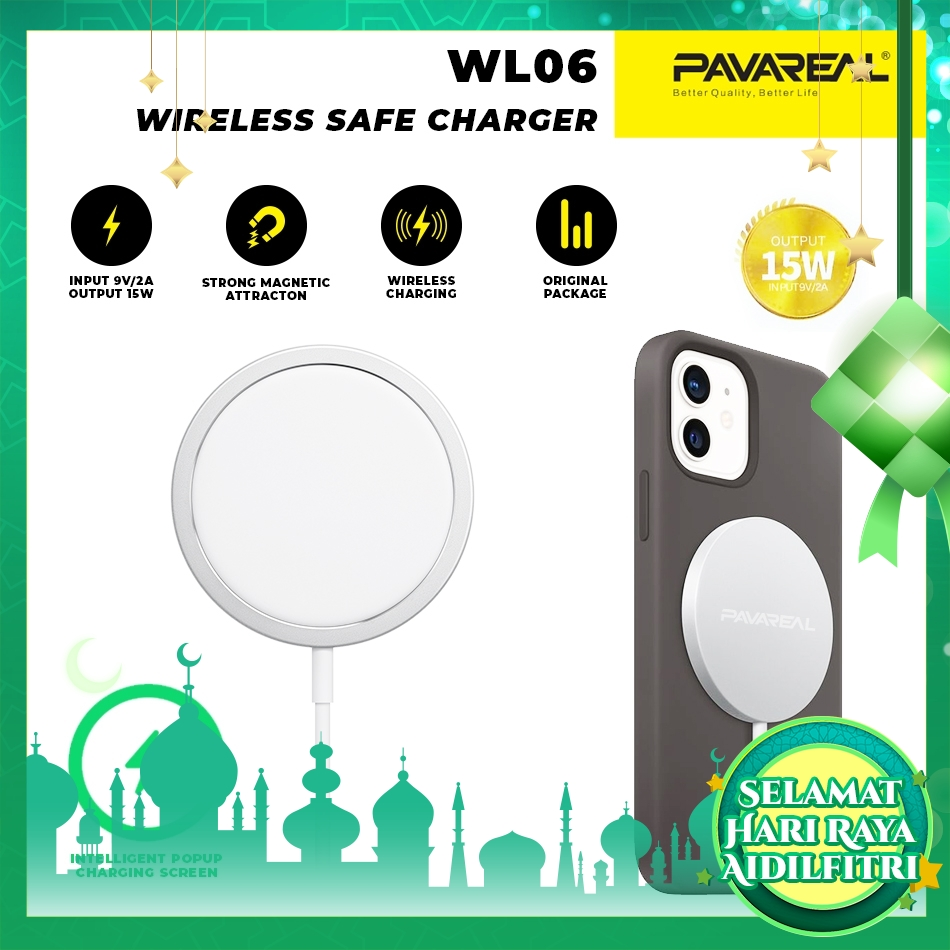 PAVAREAL PA-WL06 Intelligent Magnetic Wireless Charger 15W with Type C Port Fast Charging Safe for iPhone 12 Pro Samsung