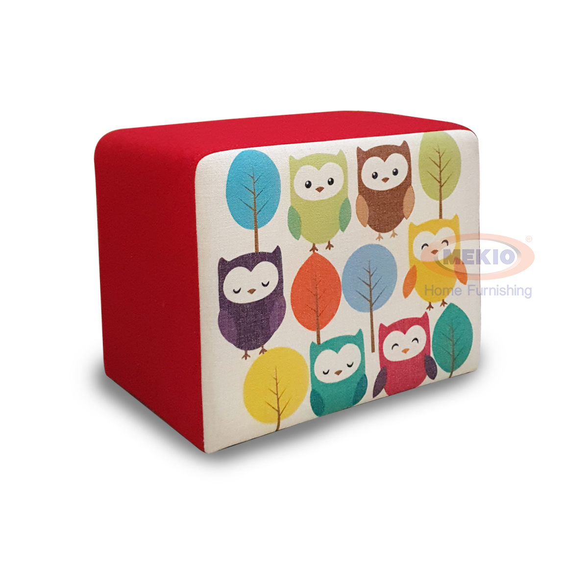 Stool owls with fabric and wooden frame