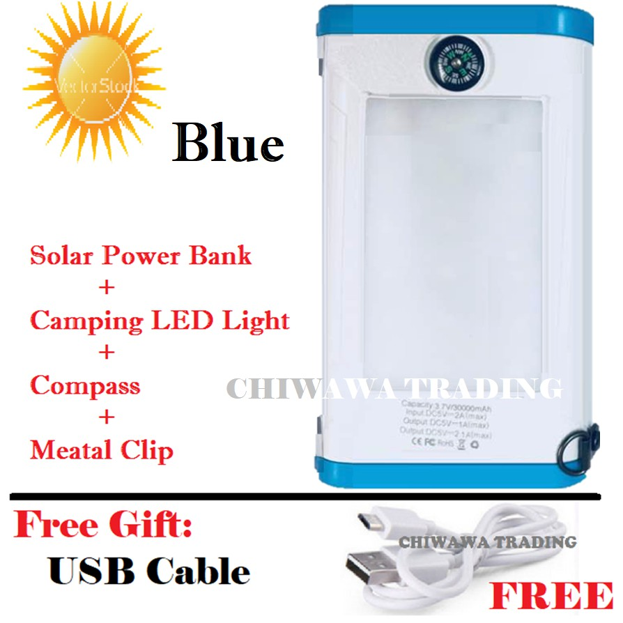 TX20【Free Gift : USB Cable】30000mAh Solar Power Bank + LED Camping Light + Compass
