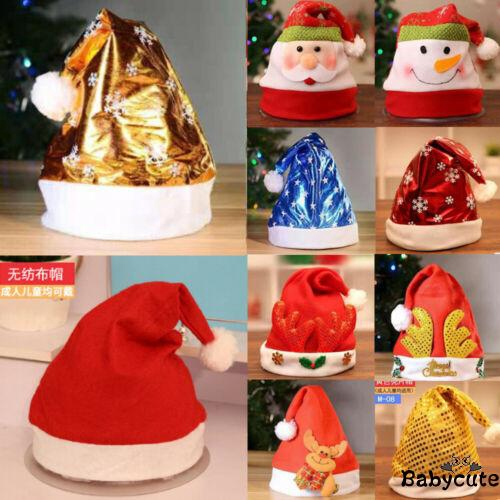 Red Christmas Xmas Festive Party Soft Hat Adult Unisex Father Santa Claus Hat
